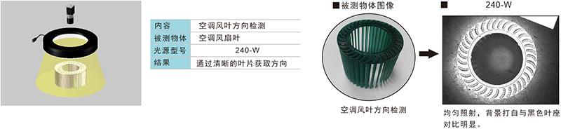环形无影光源成像实例空调风叶方向检测